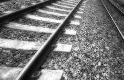 Old train tracks. Two old blurred train tracks Royalty Free Stock Photography