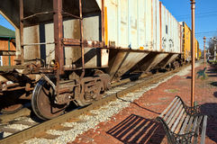 Old Train on Tracks Royalty Free Stock Images