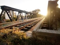 Old train tracks at sunset stock image