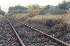 The Old train tracks used since World War II -Shallow depth of f royalty free stock photo