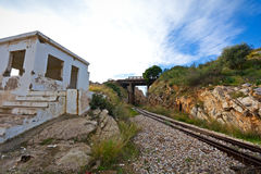 Old Train tracks. View of old, abandoned train tracks, outpost & bridge royalty free stock photos