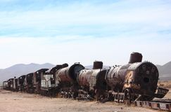 The old train at the train cemetary near Uyuni Royalty Free Stock Images