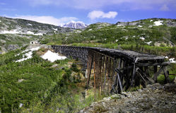 Old Train Trestle. An old abandoned train trestle near Skagway Alaska Stock Image