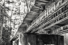 Old Train Trestle. View from underneath of old train trestle in the Appalachian Mountains near Elkmont Stock Photo