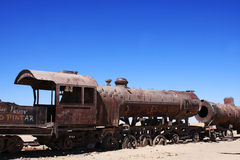 Old train in uyuni salar in bolivia Stock Photo