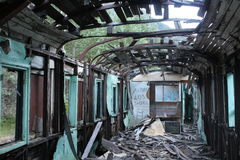 Old train. View from inside in Canfranc Estacion Stock Image