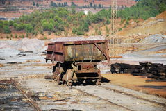 Old train wagon. In mines Riotinto - former mine (Spain Stock Photos