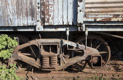 Old train wagon deteriorating at the station Royalty Free Stock Image