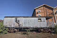 Old train wagon deteriorating at the station Royalty Free Stock Photography