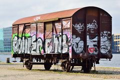 Old train wagon with grafftti Stock Images