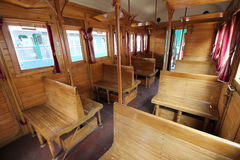 Old train wagon interior Stock Images
