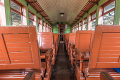 Old train wagon interior in Tiradentes, a Colonial city Stock Photo