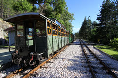 Old train wagon in station royalty free stock photography