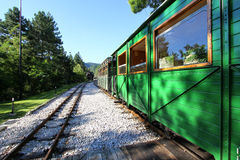Old train wagon in station Royalty Free Stock Photo