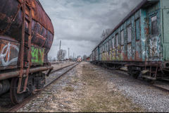 Old train wagons Royalty Free Stock Images