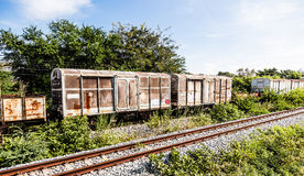 Old train wagons on a lost place. In Thailand stock image