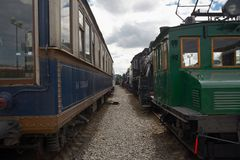 Old train wagons in the train station Royalty Free Stock Photos