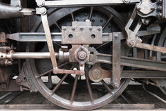Old train wheel. Old wheel mechanics on a steam train