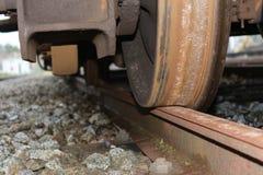 Old train wheel. Closeup of a old train wheel in the city of Caldas da Rainha - Portugal Stock Image