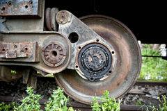 Old train wheel detail. Closeup of the wheel of an old train royalty free stock photography