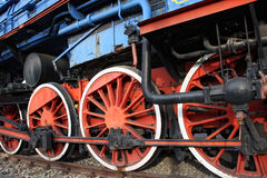 Old train wheels. Wheels on the old train locomotive Royalty Free Stock Images