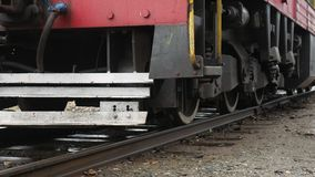 Old train wheels standing on railroad tracks video. Old train wheels standing on railroad tracks stock video footage