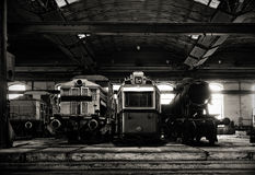 Old trains in abandoned depot Stock Photos