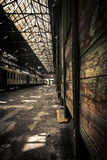 Old trains at abandoned train depot Royalty Free Stock Photography