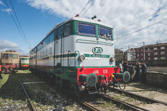Old trains deposit in Milan on March, 23 2014 Royalty Free Stock Photos