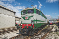 Old trains deposit in Milan on March, 23 2014 Stock Photos