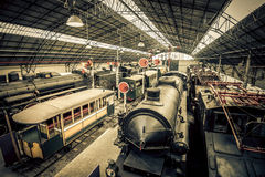 Old trains garage Royalty Free Stock Photo