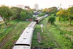 Old trains near Yangon Myanmar Royalty Free Stock Photo