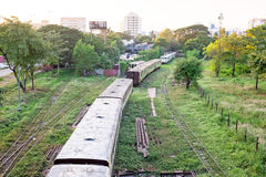 Old trains near Yangon in Myanmar Royalty Free Stock Image