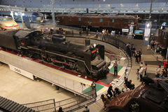 Old trains in railway museum of Omiya Stock Images