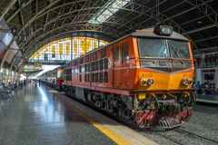 Old trains stop at train station royalty free stock photo