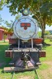 Old trains that are tourist attractions on Estrada de Ferro Made. PORTO VELHO, BRAZIL - JUNE 16, 2017: Open air museum Estrada de Ferro Madeira-Mamore in Porto Royalty Free Stock Photo