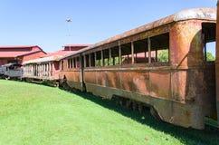 Old trains that are tourist attractions on Estrada de Ferro Made. PORTO VELHO, BRAZIL - JUNE 16, 2017: Open air museum Estrada de Ferro Madeira-Mamore in Porto Stock Images