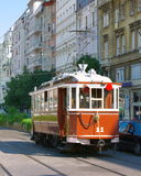Old tram. Old nostalgy tram in Budapest, Hungary stock photo