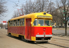 An old tram. An old red and yellow tram Stock Photography