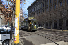 Old tram Atmosfera where people can have dinner while visiting t Royalty Free Stock Photography