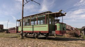 Old tram on blue sky.Time lapse. In summer day stock footage