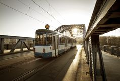 Old Tram on the bridge in Krakow, Poland Stock Photography