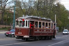 Old tram in Budapest Stock Photo