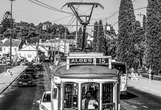 Old tram cars in Lisbon - the famous Electrico - LISBON / PORTUGAL - JUNE 15, 2017. Old tram cars in Lisbon - the famous Electrico - LISBON, PORTUGAL - 2017 royalty free stock image