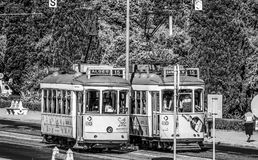 Old tram cars in Lisbon - the famous Electrico - LISBON / PORTUGAL - JUNE 15, 2017. Old tram cars in Lisbon - the famous Electrico - LISBON, PORTUGAL - 2017 stock photo