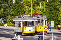 Old tram cars in Lisbon - the famous Electrico. LISBON, PORTUGAL - 2017 stock photography