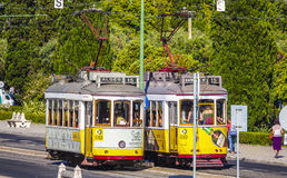 Old tram cars in Lisbon - the famous Electrico. LISBON, PORTUGAL - 2017 royalty free stock photos