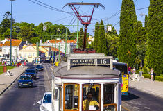 Old tram cars in Lisbon - the famous Electrico. LISBON, PORTUGAL - 2017 royalty free stock photo