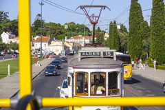 Old tram cars in Lisbon - the famous Electrico. LISBON, PORTUGAL - 2017 stock photos