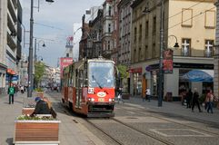 Old tram in the foreground in Katowice Stock Image